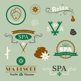 SPA logos, vector typography Royalty Free Stock Image