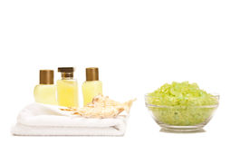 Spa lotions and bath salt. On a white background Royalty Free Stock Photo