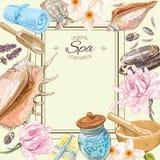 Spa lotusblommaram vektor illustrationer