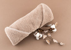 Spa Luxury Towel and Cotton Branch Stock Photo