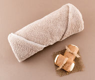 Spa Luxury Towel and Handmade Soap Royalty Free Stock Photography