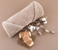 Spa Luxury Towel and Handmade Soap Royalty Free Stock Image