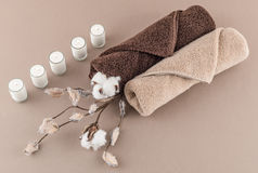 Spa Luxury Towels Cotton Branch, and Lit Candles Stock Photos