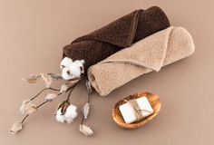 Spa Luxury Towels and Handmade Soap Royalty Free Stock Image