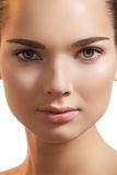 Spa make-up, wellness. Model pure face, clean skin Stock Photos