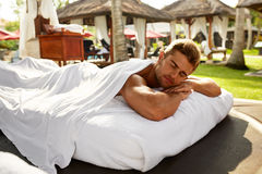 Spa For Man. Happy Male Relaxing Outdoors At Day Spa. Stock Image