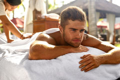 Spa For Man. Happy Male Relaxing Outdoors At Day Spa. Spa For Man. Beautiful Healthy Happy Male Model Relaxing At Day Spa Beauty Salon. Handsome Guy Enjoying stock photos