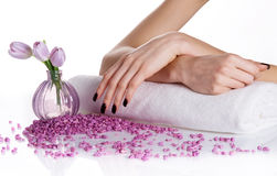 Spa manicure with lilac flowers Stock Photos