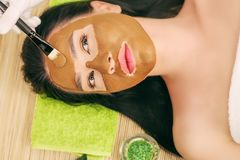 Spa Mask. Woman in Spa Salon. Face Mask. Facial Clay Mask. Stock Photography
