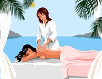 Spa massage. On seacoast, a resort.  Spa therapy Royalty Free Stock Photo