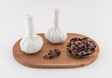 Spa Massage Balls with Dried Herbs Royalty Free Stock Photo