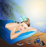 Spa massage on beach Royalty Free Stock Photos
