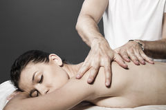 Spa massage for beautiful pretty woman - Beauty treatment therap Royalty Free Stock Photography