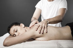 Spa massage for beautiful pretty woman - Beauty treatment therap Stock Image
