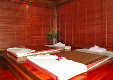 SPA massage beds at luxury hotel royalty free stock photos
