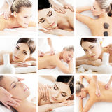 Spa and massage collage with young women Stock Photography