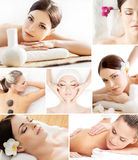 Spa and massage collage with young women. Spa and massage collage. Spa, rejuvenation, health care, healing and traditional medicine concept royalty free stock photo