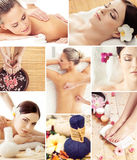 Spa and massage collage with young women. Spa and massage collage. Spa, rejuvenation, health care, healing and traditional medicine concept Stock Photos