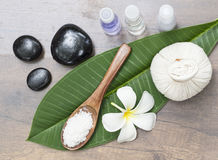 Spa massage compress balls, herbal ball on the leaves with rock spa, Thailand, select focus Stock Images
