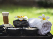 Spa massage compress balls, herbal ball with salt, turmeric and aroma, Thailand, select focus Royalty Free Stock Images