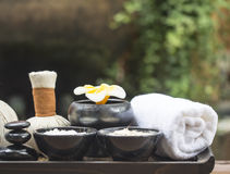 Spa massage compress balls, herbal ball with salt, turmeric and aroma, Thailand, select focus Stock Image