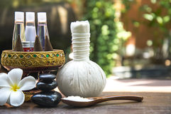 Spa massage compress balls, herbal ball with salt, turmeric and aroma, Thailand, select focus Stock Images