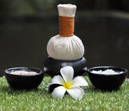 Spa massage compress balls, herbal ball with salt and turmeric, Thailand, select focus Royalty Free Stock Photo
