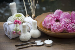 Spa massage compress balls, herbal ball with treaments spa and lotus , Thailand, soft focus Royalty Free Stock Photos