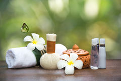 Spa massage compress balls, herbal ball and treatment  spa, Thailand. Background green nature Royalty Free Stock Photo