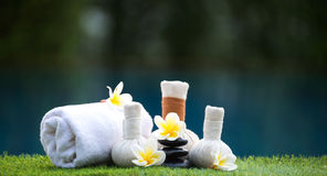 Spa massage compress balls, herbal ball and treatment  spa, Thailand. Select focus Stock Photography
