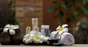 Spa massage compress balls, herbal ball and treatment  spa. Thailand, select focus Royalty Free Stock Photos
