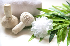 Spa massage compress balls, herbal ball and treatment  spa,. Thailand, select focus Royalty Free Stock Photography