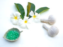 Spa massage compress balls, herbal ball. And treatment  spa, Thailand, greenery tone 2017 Stock Photos