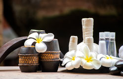 Spa massage compress balls, herbal ball. And treatment  spa, Thailand, select focus Royalty Free Stock Photography