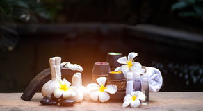 Spa massage compress balls, herbal ball. And treatment  spa, Thailand, select focus Royalty Free Stock Photo