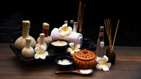 Spa massage compress balls, herbal ball on the wooden with tream. Ents spa; Thailand, soft and select focus Royalty Free Stock Images