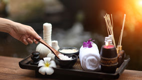 Spa massage compress balls, herbal ball on the wooden with tream. Ents spa; Thailand, soft and select focus Royalty Free Stock Photography