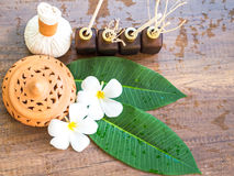 Spa massage compress balls, herbal ball on the wooden. With treaments spa , Thailand, select focus Royalty Free Stock Photo