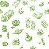 SPA and massage doodle hand drawn seamless pattern Royalty Free Stock Photo