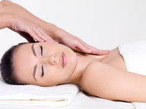 Spa massage of the face and neck Royalty Free Stock Images