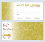 Spa, massage gift certificate template Royalty Free Stock Images