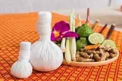 Spa and Massage Item on orange thai-style mat Stock Photography