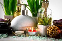 Spa massage items. Items for spa massage in the composition on the table royalty free stock image