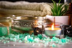 Spa massage items. Items for spa massage in the composition on the table royalty free stock photos
