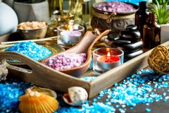 Spa massage items. Items for spa massage in the composition on the table stock photo