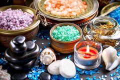Spa massage items. Items for spa massage in the composition on the table royalty free stock photo