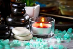 Spa massage items. Items for spa massage in the composition on the table royalty free stock photography