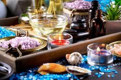 Spa massage items. Items for spa massage in the composition on the table stock photos