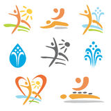 Spa massage nudism icons Royalty Free Stock Image