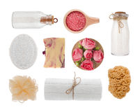 Spa massage products, cosmetics and soap isolated on white background Stock Photo